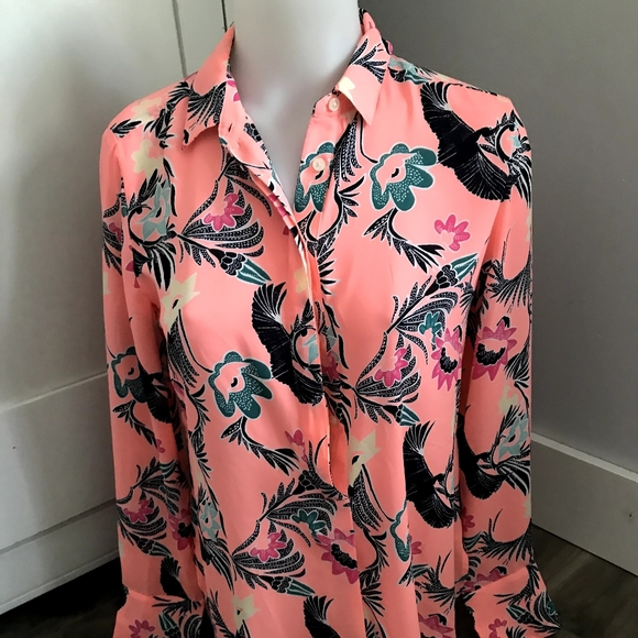 Banana Republic Tops - Banana Republic Pink Floral Popovr Bird Blouse XS